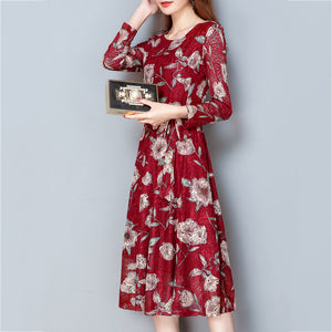 Fashionable Round Collar Slim Lace Printed A-Line Skater Dress - lolabuy