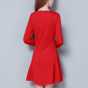 Long-Sleeved Retro Round Collar Skater Dress - lolabuy