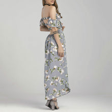 Off-Shoulder Printed Irregular Vacation Dress