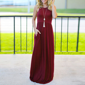 Solid Color Round Collar Sleeveless Long Skater Dress - lolabuy