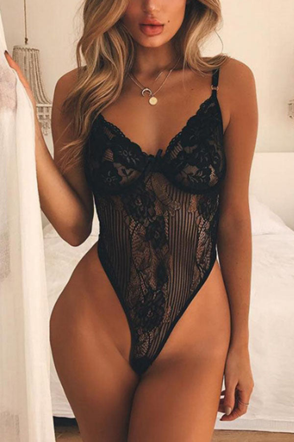 Spaghetti Strap  See Through  Hollow Out Plain Teddy