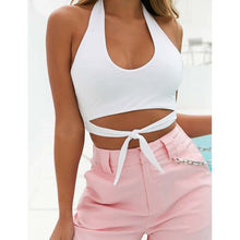 Halter U Collar Short Sexy Strap Vacation Shirt Vest - lolabuy