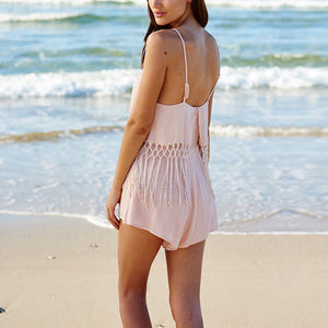 Halter Lace Stitching Sexy Shorts Strap Vacation Dress Jumpsuit - lolabuy