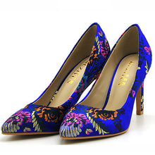Folk-Custom Printing Pointed Slim High Shoes - lolabuy