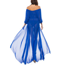 Sexy Off Shoulder Pure Color Chiffon Vacation Dress - lolabuy