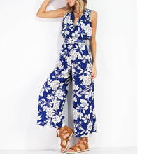 Deep V-Neck Printed Jumpsuit - lolabuy