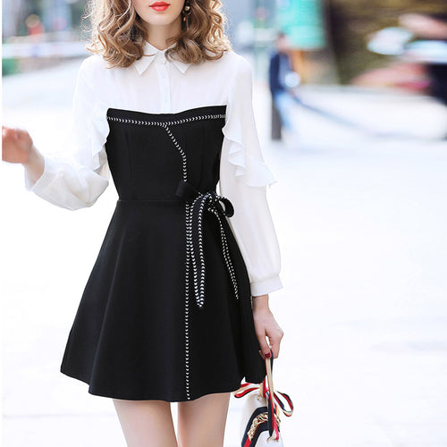 POLO Collar Lotus Leaf Stitching Bow Knot Skater Dress