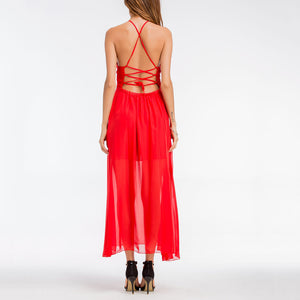 Bohemian Sexy V Collar Split Chiffon Strapless Irregular Vacation Dress - lolabuy