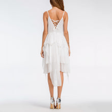 Sexy V Collar Chiffon Strapless Irregular Vacation Dress - lolabuy