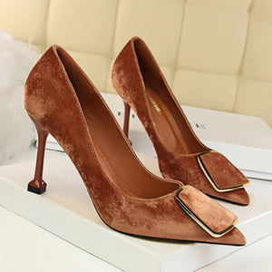 OL High Heel Suede Shallow Mouth Pointed Shoes - lolabuy