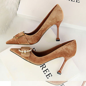 Elegant Pearl Decoration Pointed Slim Heels Shoes - lolabuy