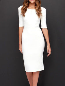 Boat Neck  Plain  Blend Bodycon Dress - lolabuy