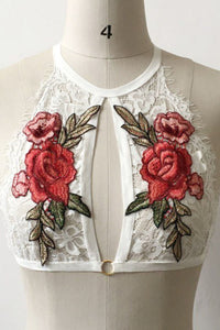 Halter  Embroidery Hollow Out Lace Bra - lolabuy