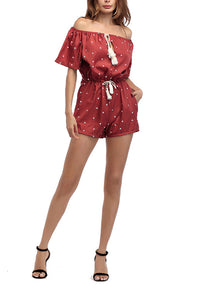 Open Shoulder  Drawstring  Belt  Printed Jumpsuits - lolabuy