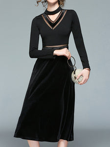 Ladies New Sexy Mesh Yarn Hanging Neck Dress - lolabuy