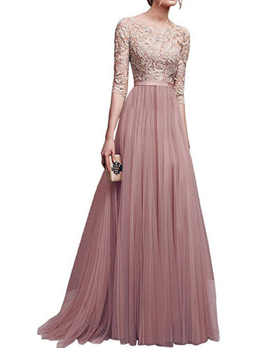 Round Neck Patchwork Plain Evening Dress - lolabuy