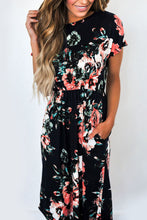 Round Neck  Bust Darts  Floral Printed  Short Sleeve Maxi Dresses
