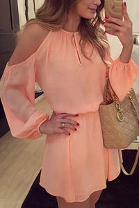 Open Shoulder Round Neck  Backless  Plain  Lantern Sleeve  Long Sleeve Casual Dresses