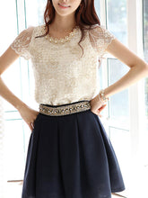 Spring Summer  Lace  Women  Round Neck  Decorative Lace  Lace  Short Sleeve Blouses