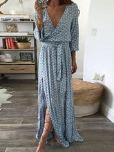 V-Neck  Plain Maxi Dresses - lolabuy