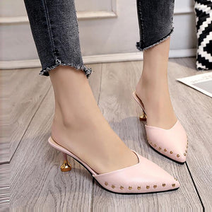 Fashion Rivet Pure Color Slim Heel Mueller Shoes