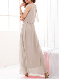 Round Neck  Fashion Plain Maxi Dress - lolabuy