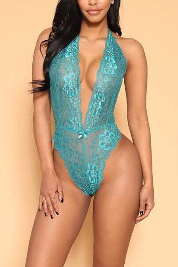 Halter  See Through  Plain Teddy - lolabuy