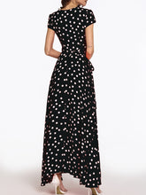 Deep V Neck  Belt  Print  Short Sleeve Maxi Dresses - lolabuy