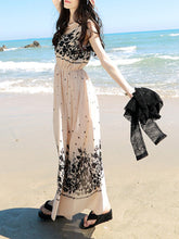 Round Neck  Elastic Waist  Floral Printed Maxi Dress - lolabuy