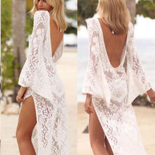 V Collar Sexy Halter Split Lace Vacation Dress - lolabuy