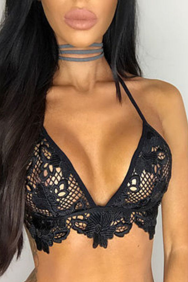 Halter  Hollow Out Plain Bra - lolabuy