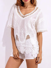 Spring Summer  Lace  Women  V-Neck  Decorative Lace  Hollow Out  Short Sleeve Blouses - lolabuy