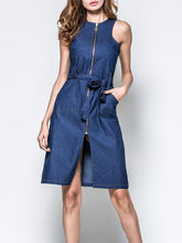 Zipper Round Neck Denim Vest Dress - lolabuy