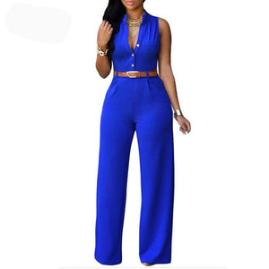 Sleeveless Round Neck Casual Jumpsuit Romper With Belt