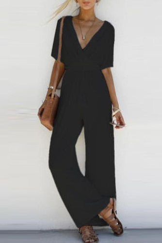 Deep V Collar Holiday Jumpsuit - lolabuy