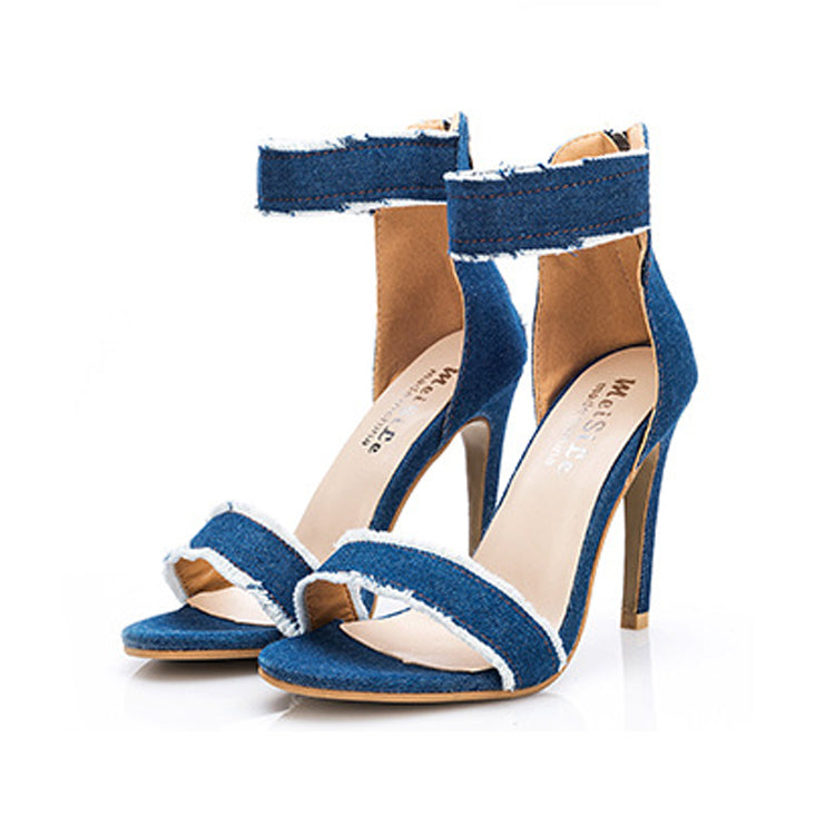 Elegant Fashion Denim High Heels Shoes - lolabuy