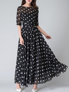 Round Neck  Ruffled Hem  Printed Maxi Dress - lolabuy