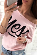 One Shoulder  Letters Plain  Batwing Sleeve T-Shirts - lolabuy