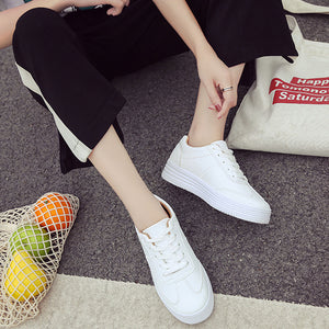 Casual Pure Color Leather Surface Flat Shoes - lolabuy