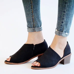 Chunky  Mid Heeled  Peep Toe  Casual Sandals - lolabuy