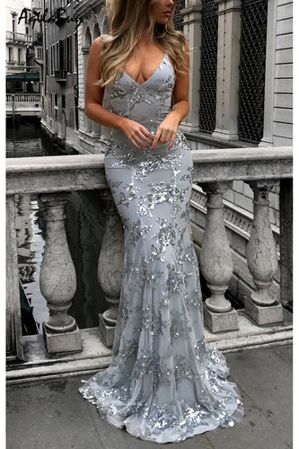 Sexy V-Neck Sleeveless Strap Sequined Evening Dress - lolabuy