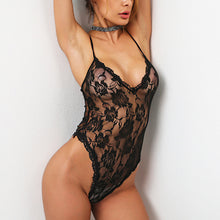 Sexy Deep V Collar Lace Perspective Bodysuit - lolabuy