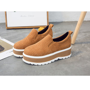 Casual Pure Color Suede Platform Shoes - lolabuy