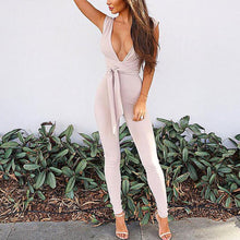 Sexy Deep V Collar Sleeveless Solid Color Slim Jumpsuit With Belt - lolabuy