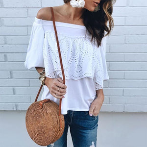 Bare Shoulder Lace Splicing T-Shirt - lolabuy