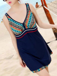 Plus Size Criss-Cross Back Hollow Out Printing Sleeveless Swimdress For Women - lolabuy