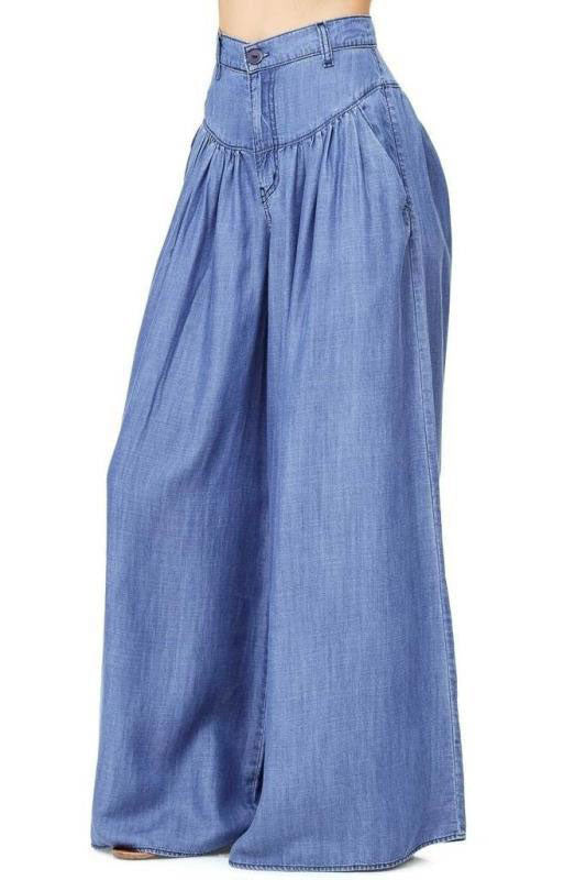 Bohemian Casual Plain Wide Leg Pants - lolabuy