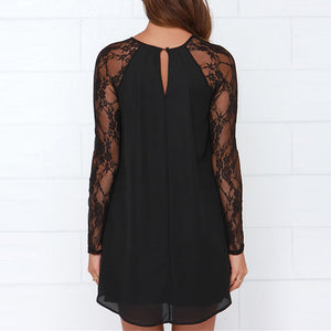 Sexy Lace Stitching Round Collar Long-Sleeved Skater Dress - lolabuy