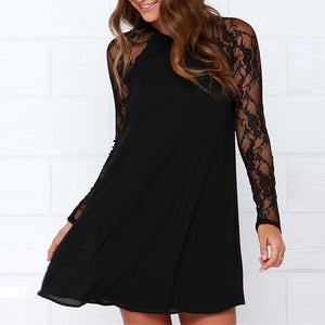 Sexy Lace Stitching Round Collar Long-Sleeved Skater Dress