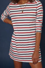 Round Neck  Striped  Long Sleeve Casual Dresses